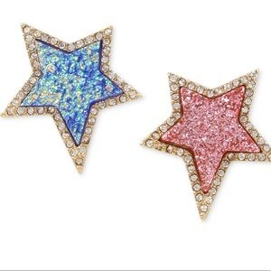 Betsey Johnson Pave Star Mismatch Earrings